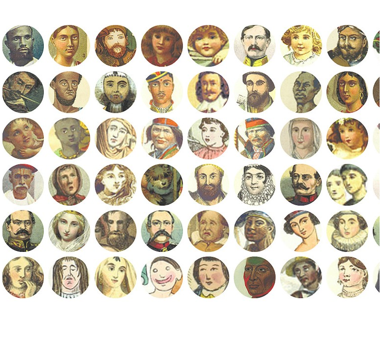 16 x 16 Colourful Faces from the British Library Collection, by Mario Klingemann. The result of data mining the British Library Commons Collection, identifying colorful plates using some image analysis and subsequently using face detection to extract the faces contained therein. CC BY-NC 2.0