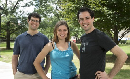 Founders of Public Communication for Researchers (PCR) from left to right: Jesse Dunietz, Adona Iosif, and Ardon Shorr. (Image Credit: Tim Kaulen, Carnegie Mellon University)