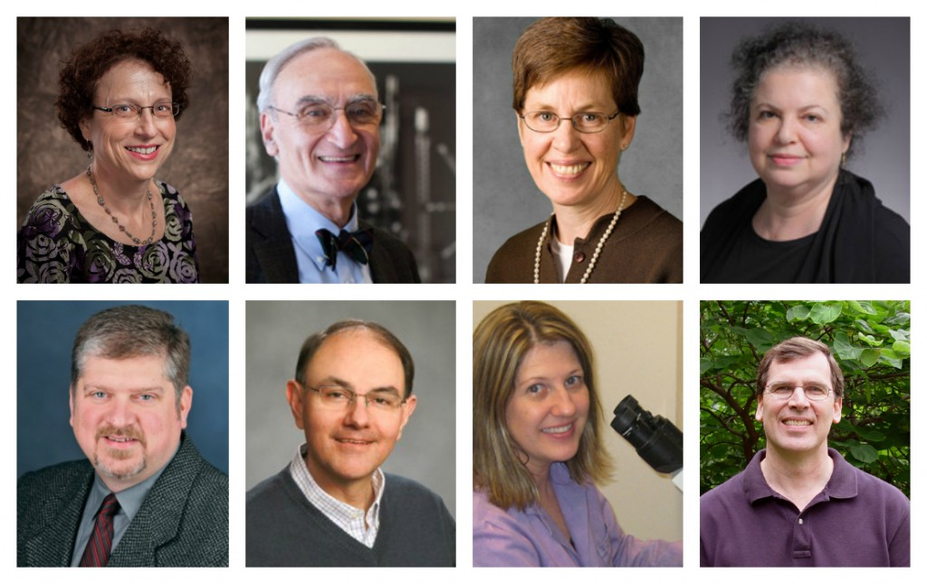GSA members elected to the 2015 class of AAAS Fellows: (top, l-r) Julie Brill, Gerald Fink, Pamela Geyer, Hannah Klein; (bottom, l-r) Erik Lindquist, Joseph Reese, Beth Sullivan, Roger Wise