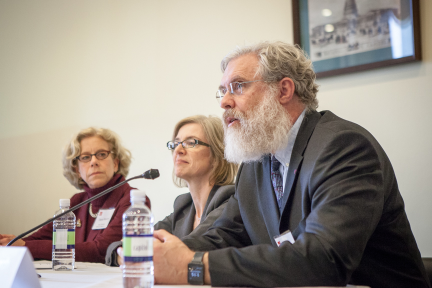 The Personal Genetics Education Project (pgEd) held a congressional briefing featuring Diana Bianchi, MD, Tufts University School of Medicine, Jennifer Doudna, PhD, University of California, Berkeley, and George Church, PhD, Harvard Medical School. Tuesday, November 17, 2015. Photo Credit: John Boal Photography