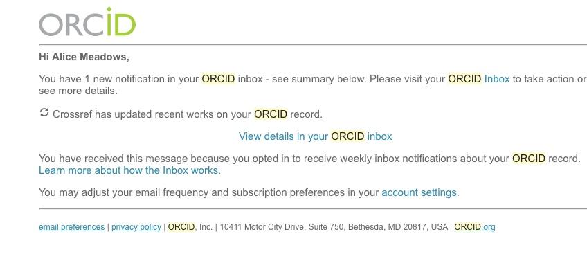 Crossref notification email