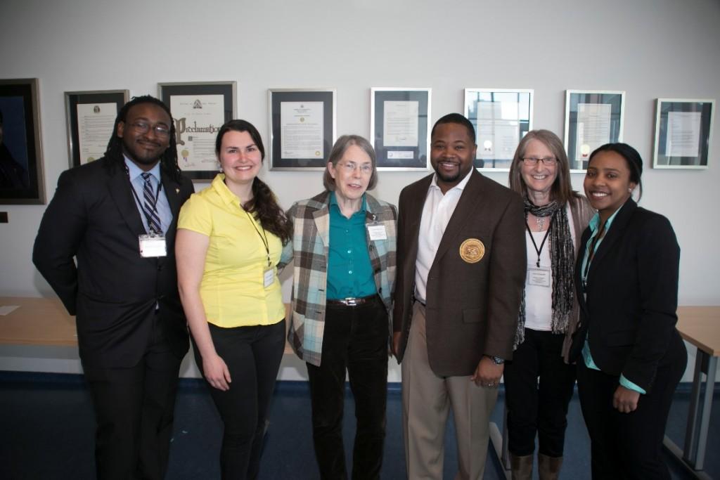 ATGC-STL Co-chairs with plenary speakers. Pictured: (right to left) Joseph Bradley, Chelsea Pretz, Dr. Sally Elgin (keynote speaker), Dr. Dwaun J. Warmack (HSSU President), Dr. Ann Podleski (Honoree Speaker), Davinelle Daniels