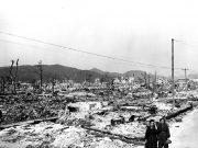 Atomic bomb damage at Hiroshima, Japan seen by the USS Appalachian November 17, 1945. Source: US Department of Energy.
