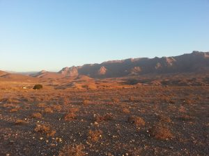 View of arid mountains at dusk in the Richtersveld Community Conservancy, South Africa.