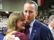 Billy and Mary Kennedy, 2016. Photo by Matt Sachs, TexAgs. Men's basketball coach Billy Kennedy joined Texas A&M in 2011. He is fighting Parkinson's and had faced much criticism of his abilities. Pictured are Coach Kennedy and his wife Mary Kennedy immediately after his men's basketball team won the SEC regular-season conference championship for their first time in 30 years.