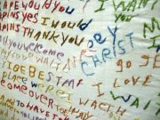 A cloth embroidered by a person with schizophrenia. By cometstarmoon [CC BY 2.0], via Wikimedia Commons