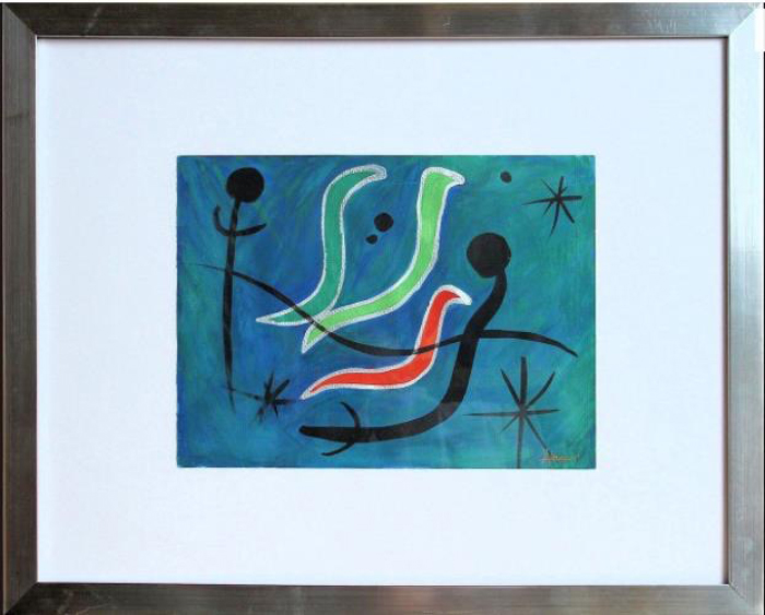 Watercolor inspired by my C. elegans dreams and after going to the Miro Museum.