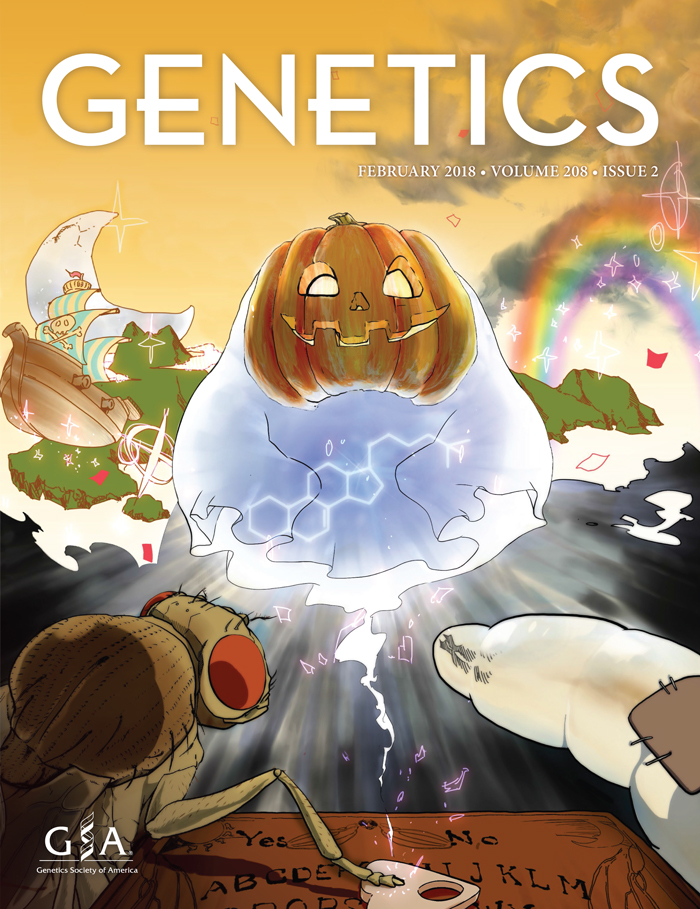 Artwork shows a vision conjured via ouija board by a fruit fly and a larvae. The scene includes a jack-o-lantern ghost, an ecdysteroid molecular structure, a pirate ship, and rainbow.
