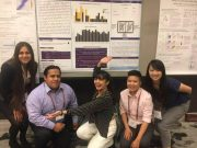 Ezequiel Lopez Barragan, Rochelle-Jan Reyes, Samantha Kristin Dung, Andrea López, and Ricky Thu present their work at 2018's Population, Evolutionary and Quantitative Genetics Conference. Photo credit: Mayra Banuelos.