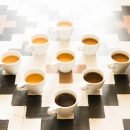 Photo of nine coffees of different colors