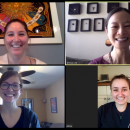 Four women smiling in a Zoom video conference call