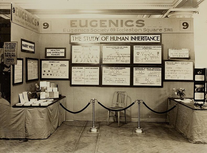 An historical photo of a eugenics society exhibit
