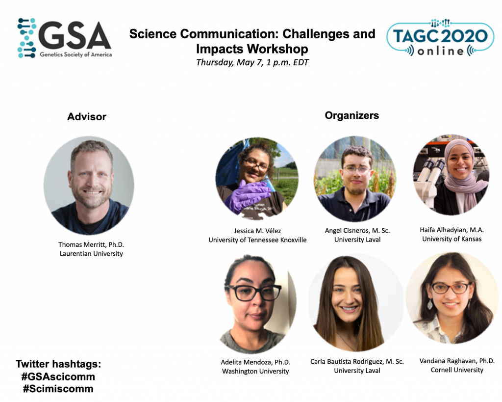 Photos of the people who organized the TAGC 2020 workshop on science communication
