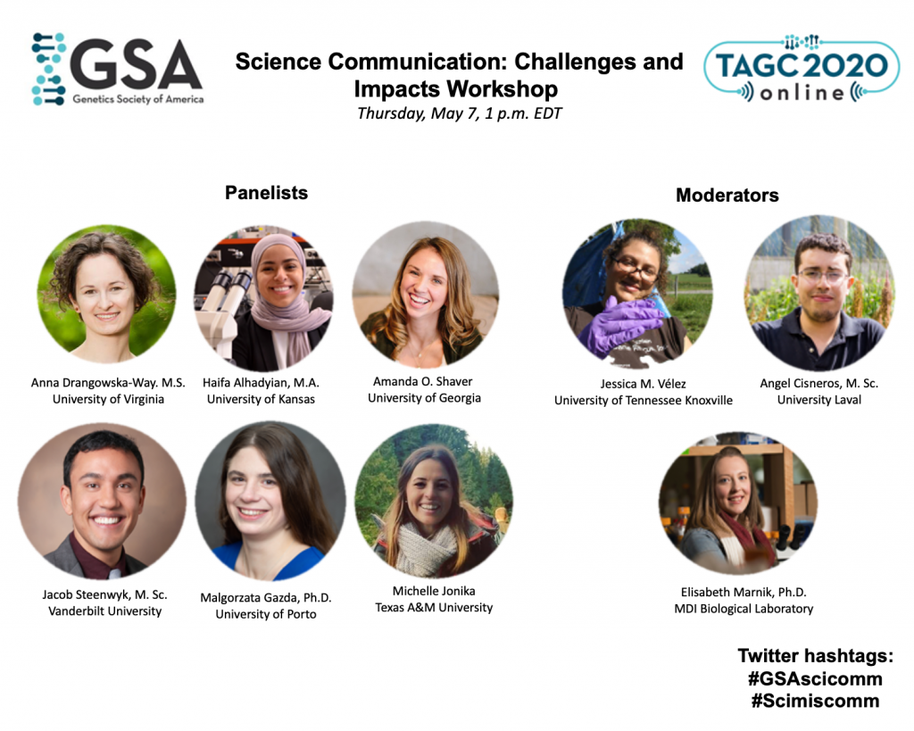 Photos of the moderators and panelists for TAGC 2020 workshop on science communication