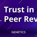 "Purple and blue background with white text saying ""Trust in Peer Review"" for Peer Review Week"