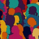silhouettes of people in lots of bright colours