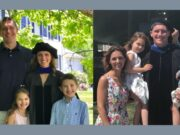 Family with children at PhD commencement. One side shows the mom's commencement and the other side shows the dad's commencement.