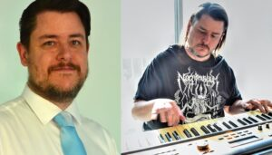 Stephen Klusza with short hair wearing a tie and then with longer hair playing an electronic piano.