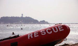 """Beach with inflatable boat with """"Rescue"""" written on the side"""